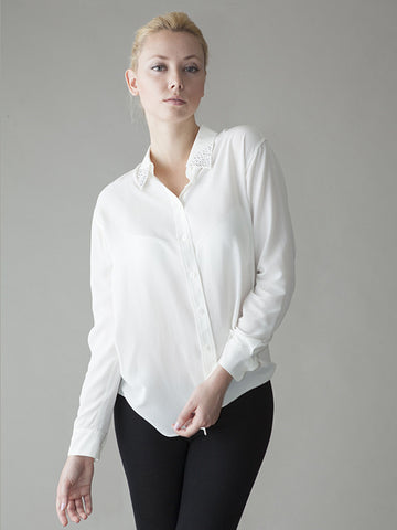 white silk shirt with crystal collar