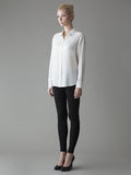 white silk shirt with swarovsky detail