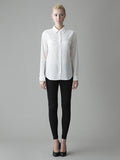 long sleeve white button front silk shirt front