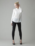 long sleeve white silk shirt full body image