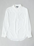 Classic white silk shirt flat lay