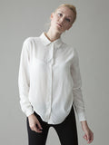 long sleeve classic white button front silk shirt