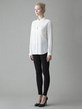 long sleeve white silk blouse from 3/4