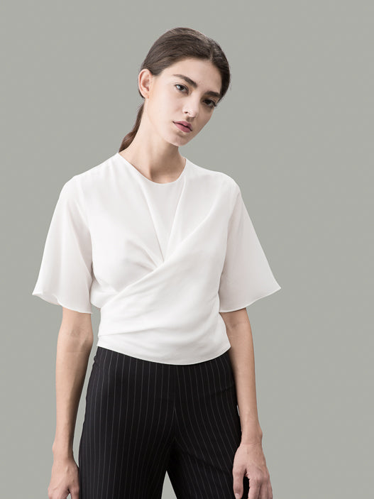 The Martha silk wrap shirt: Figure of a Saint