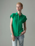 The Bettie silk shirt: Pinup Queen Green