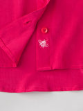 bee detail embroidery on pink silk shirt