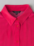 women's pink silk shirt collar detail