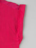 women's pink silk shirt with rolled sleeve detail