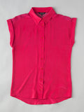 women's classic hot pink short sleeve silk shirt