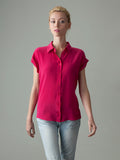 women's pink short sleeve button up silk shirt