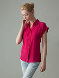 women's pink short sleeve silk shirt