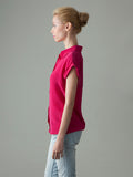 women's pink short sleeve blouse side view