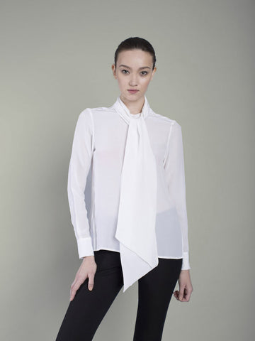 The Cassie Pussy Bow Blouse - Pure White