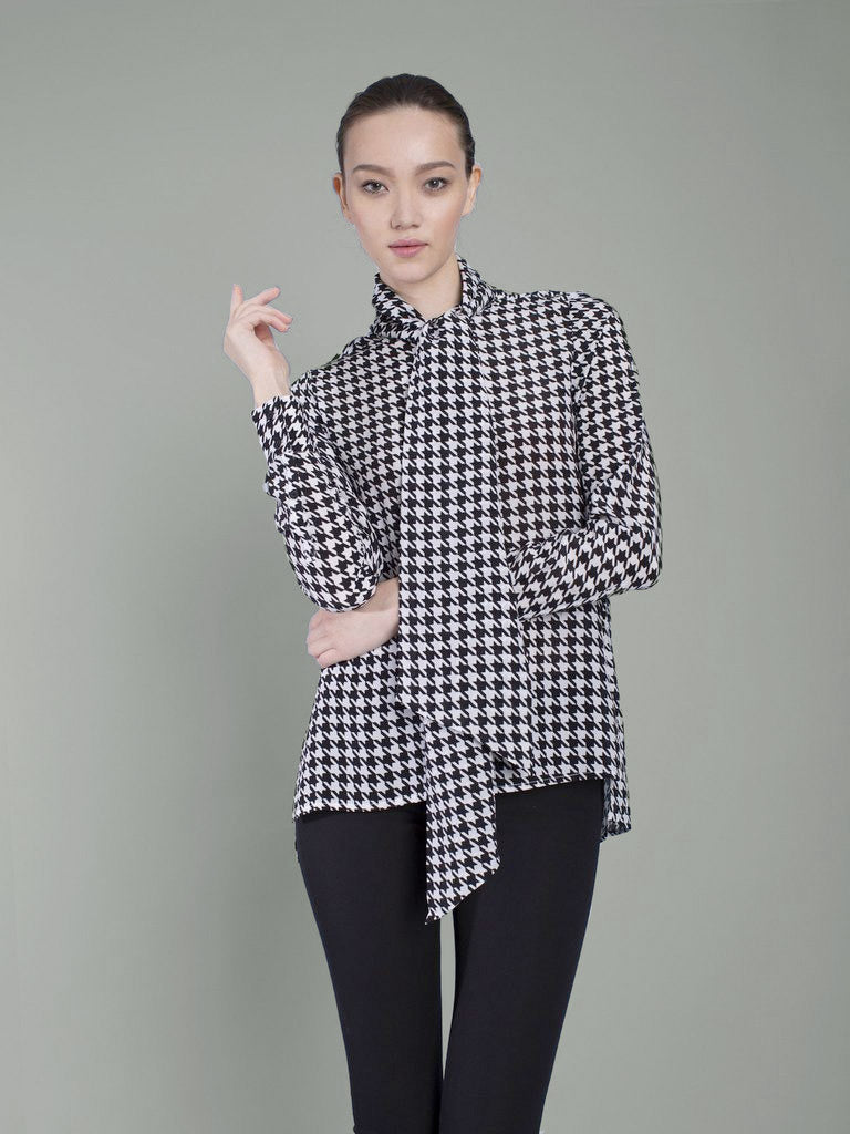 silk houndstooth pussybow shirt