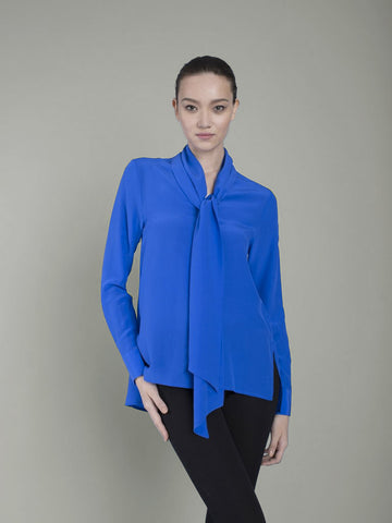 blue silk pussybow blouse