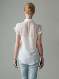 sheer short sleeve white silk shirt back view