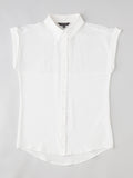 short sleeve white silk shirt flat lay