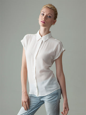 short sleeve white silk shirt