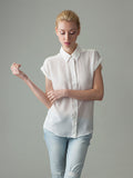 short sleeve white silk blouse