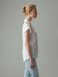 short sleeve white silk shirt side detail