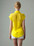 women's sheet yellow short sleeve silk shirt