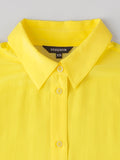 women's yellow silk shirt collar detail