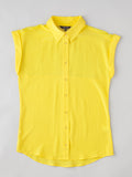 women's yellow short sleeve button front silk shirt