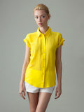 women's yellow short sleeve silk blouse