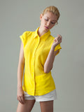 women's yellow short sleeve silk shirt