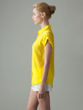 women's yellow short sleeve silk shirt side view