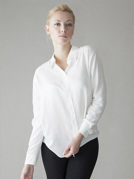 The Cassie Pussybow Blouse Pure White Silk Shirts By