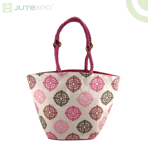 Printed Shopper - Damask Fuschia