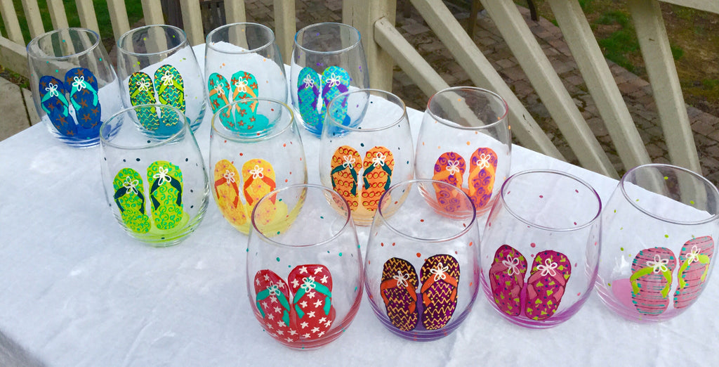 622aee82b6df Flip Flops Hand Painted Wine Glasses – Glorious Goblets