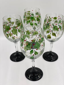 Christmas Swag Hand-painted Wine Glasses