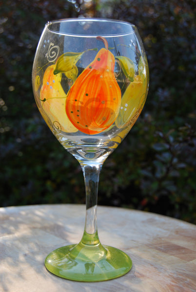 Pear Hand Painted Wine Glasses
