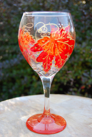 Maple Red Hand Painted Wine Glass
