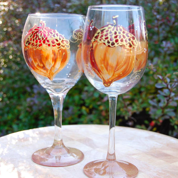 Acorn, hand painted wine glass