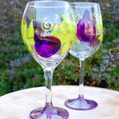 Fig Hand Painted Wine Glasses
