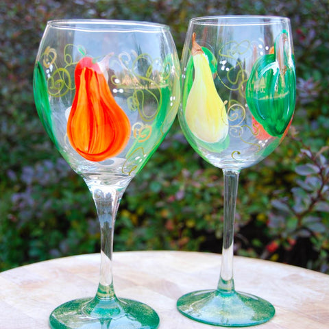 Gourd Hand Painted Wine Glasses