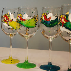 Irish Angel Hand Painted Wine Glass