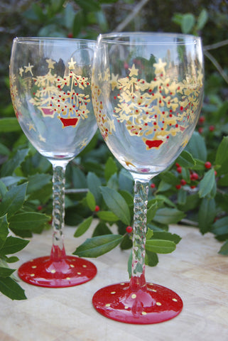 Oh Tannenbaum Hand Painted Wine Glasses