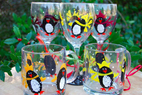 Penguins Hand Painted Wine Glasses