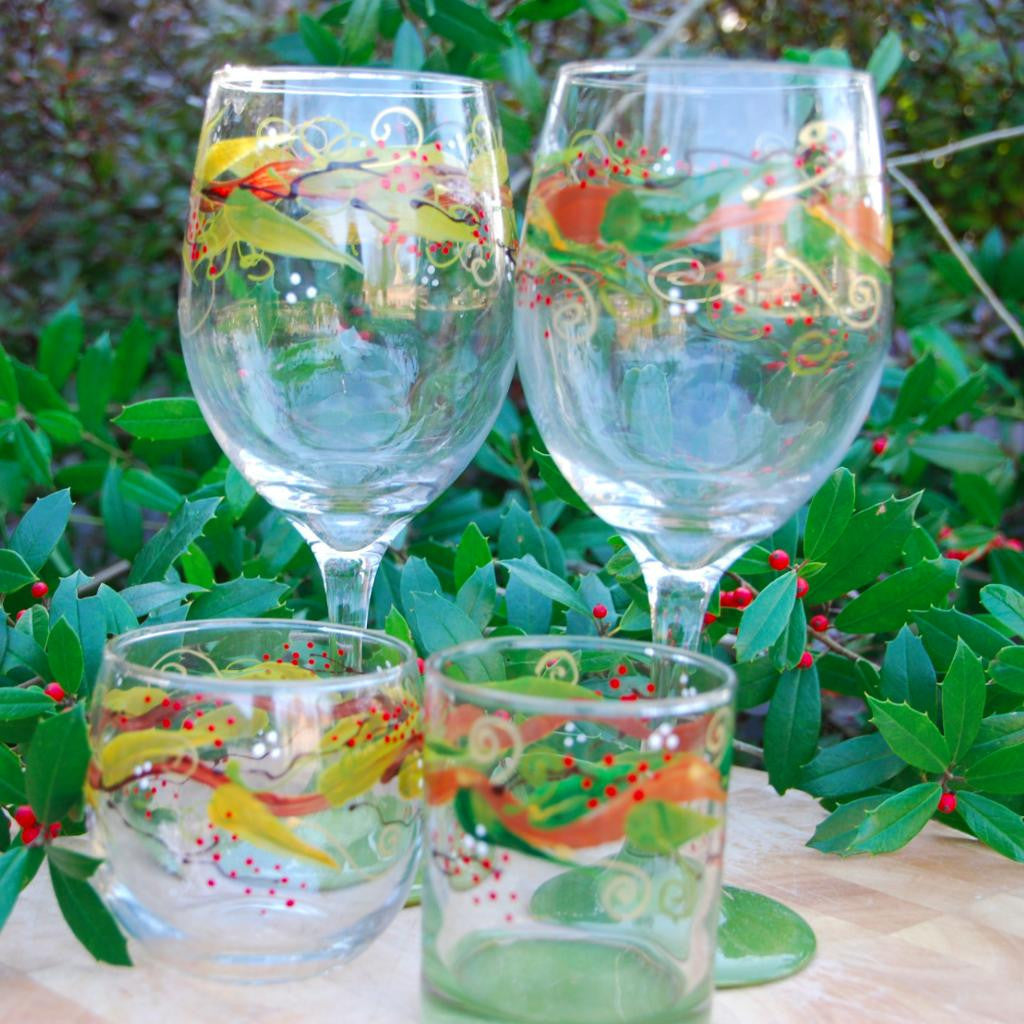Golden Branch Hand-painted Wine Glass & Glassware