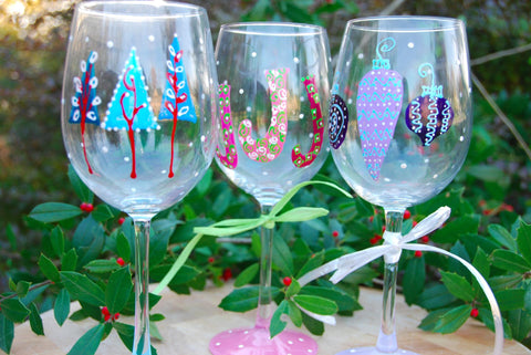 Jingle Bell Rock Hand Painted Wine Glasses