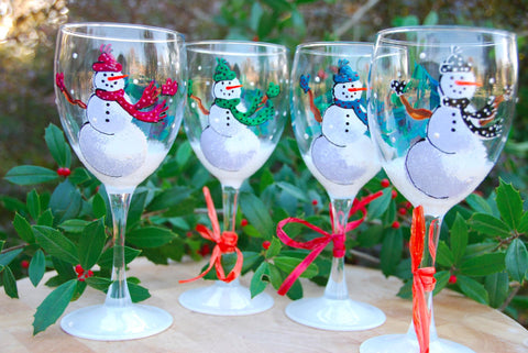 Frosty Snowman Hand Painted Wine Glass & Glassware