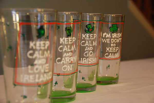 Keep Calm Irish inspired Hand Painted Glassware