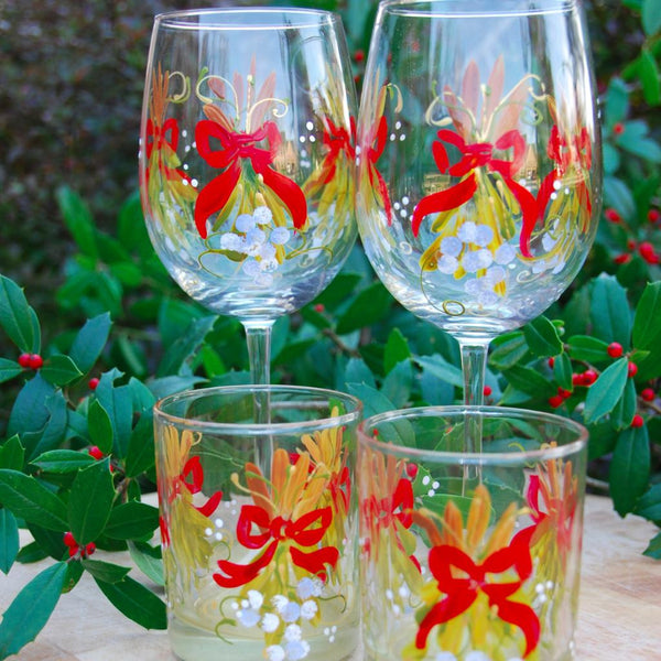 Mistletoe with Red Bows Hand Painted Glassware