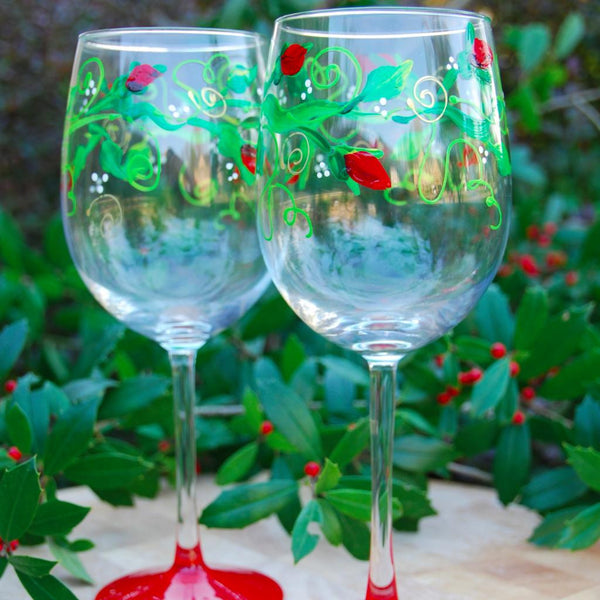 Climbing Rose Hand Painted Wine Glasses