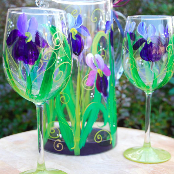Iris Flower Hand Painted Wineglass & Glassware