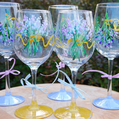 Lavender Bouquet Hand Painted Wine Glasses